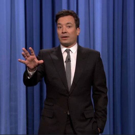 Jimmy Fallon-Black suit-white shirt- grey tie-Tonight show-E221 ...