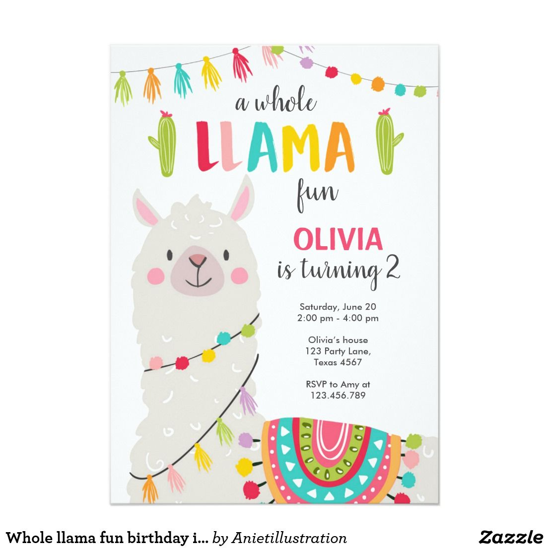 Whole Llama Fun Birthday Invitation Alpace Fiesta Zazzle
