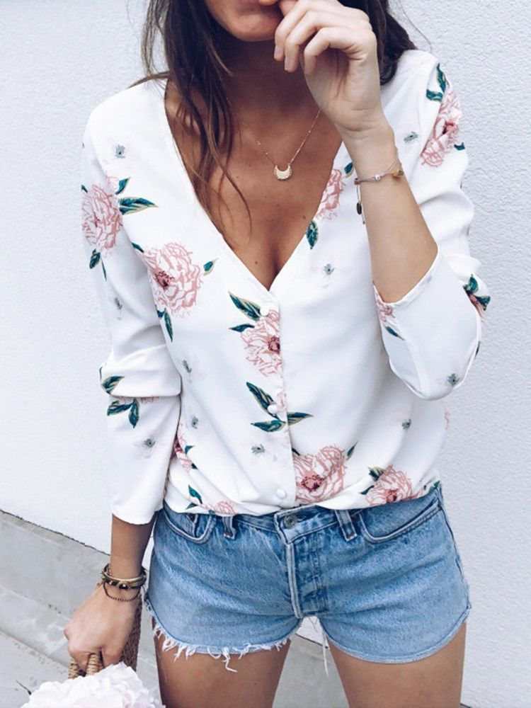 Womens Butterfly Floral Long Sleeve Tops Ladies Sweatshirt Blouse Tee T-shirt