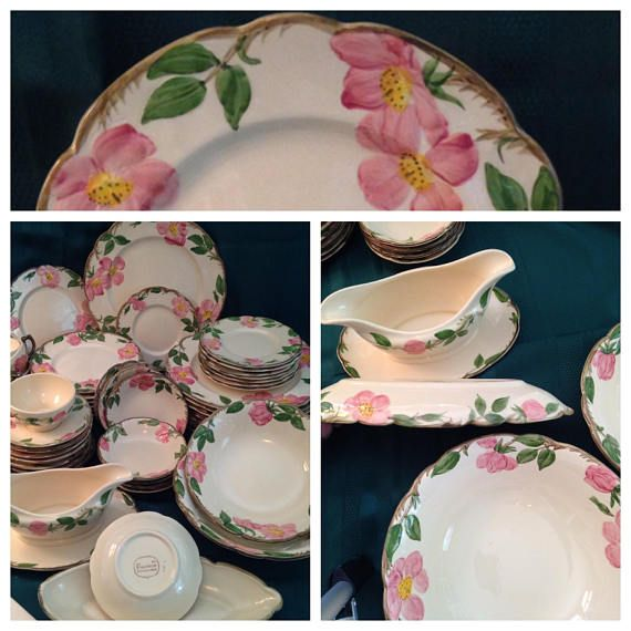 Franciscan DESERT ROSE 54 Pc Dinnerware Set USA 50u0027s Service for 8 with Serving Pieces - Nice! Plates Bowls Cups Saucers Gravy Boat & Franciscan DESERT ROSE 54 Pc Dinnerware Set USA 50u0027s Service for 8 ...