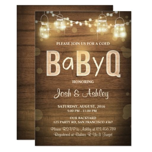 baby q invitation coed bbq baby shower rustic wood | rustic wood,