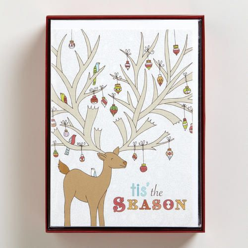 Maybe you will start earlier on your holiday cards next year -- Reindeer with Ornaments Boxed Holiday Cards, Set of 15