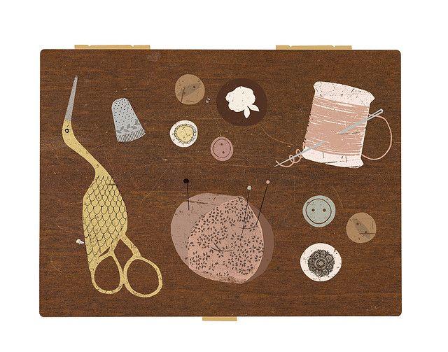 Vintage sewing kit. by Clare Owen Illustration, via Flickr