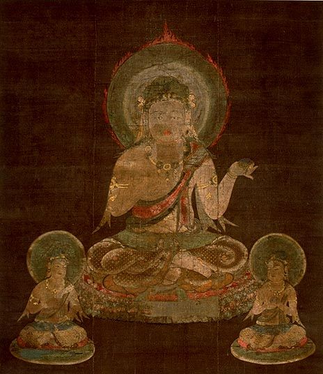 Ji-ten (Prthivi) (One of the Twelve Devas).  Hanging scroll, color and gold on silk, Late-Heian Period (Dated 1127)  National Treasure  AK 283 , Kyoto National Museum. Ji-ten is one of the Twelve Devas that were made in 1127 to be hung at the annual, New Year's ceremony of esoteric prayers, held at Shingon-in in the Imperial Palace. They were formerly owned by Kyoogokoku-ji (To-ji) Temple.