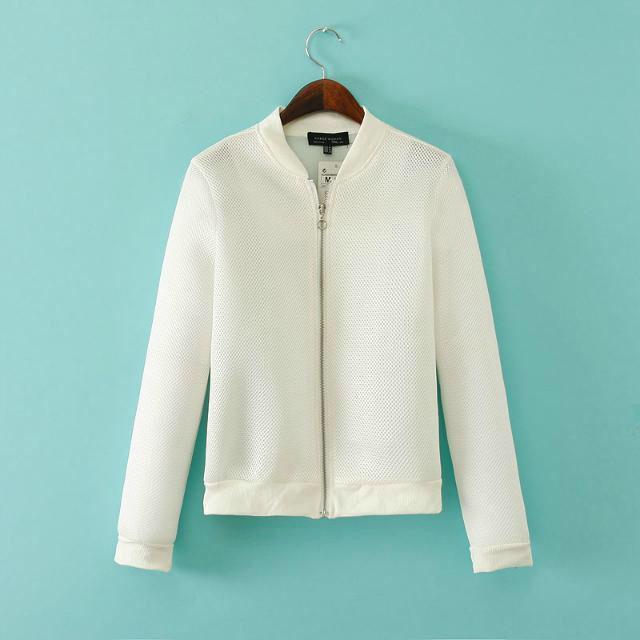 2015 Spring Autumn Black White Woman Short Coat  New Female  Sport Baseball Uniform Mesh Long Sleeved Zipper Jacket
