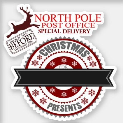 Post Office Hours Christmas Eve.Cute North Pole Post Office Sticker Zazzle Com In 2019