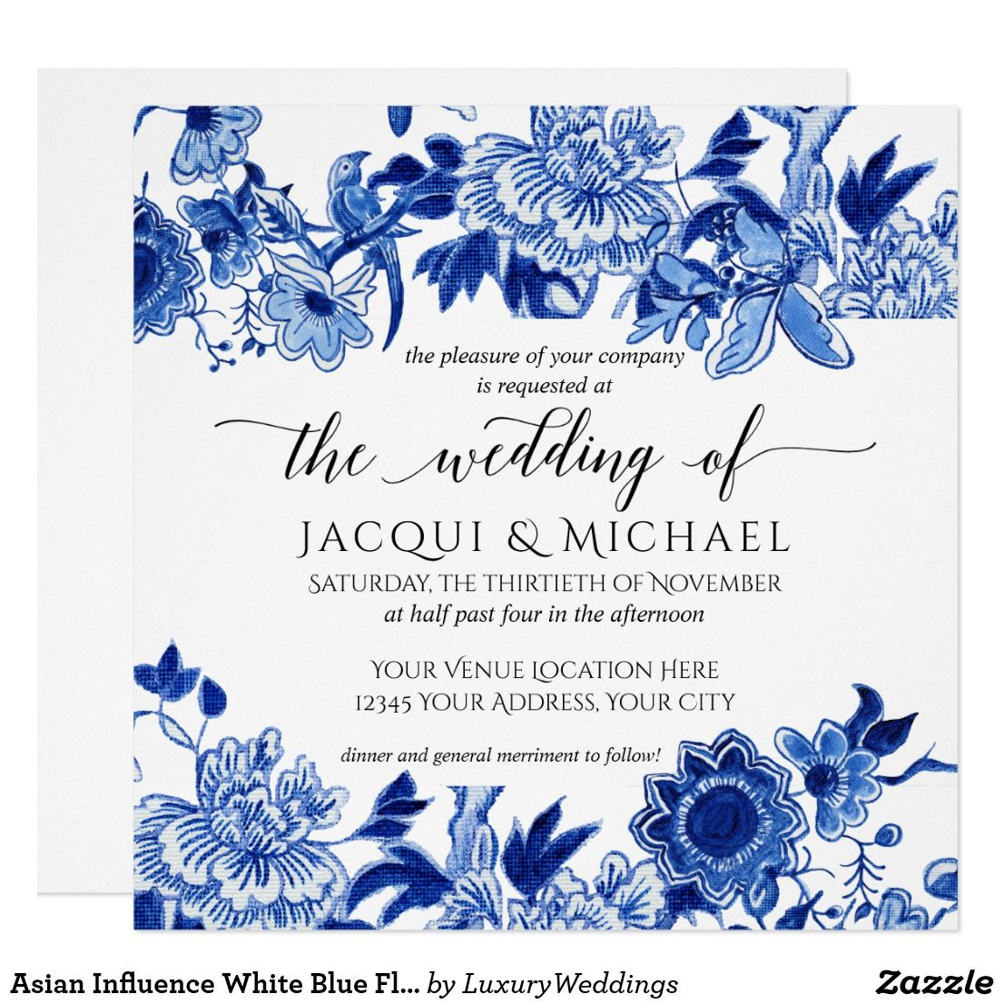 Asian Influence White Blue Floral Wedding Artwork Invitation Zazzle Com Floral Bridal Shower Invitations Wedding Artwork Blue Bridal Shower