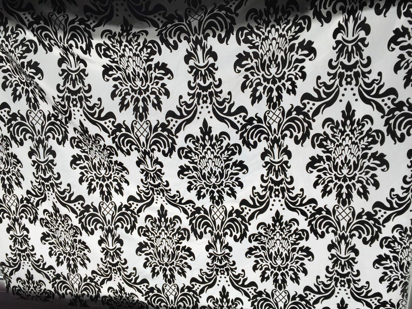 dettagli su lotto 5m tessuto taffeta damascato in velluto nero per ... - Arredamento White Elephant