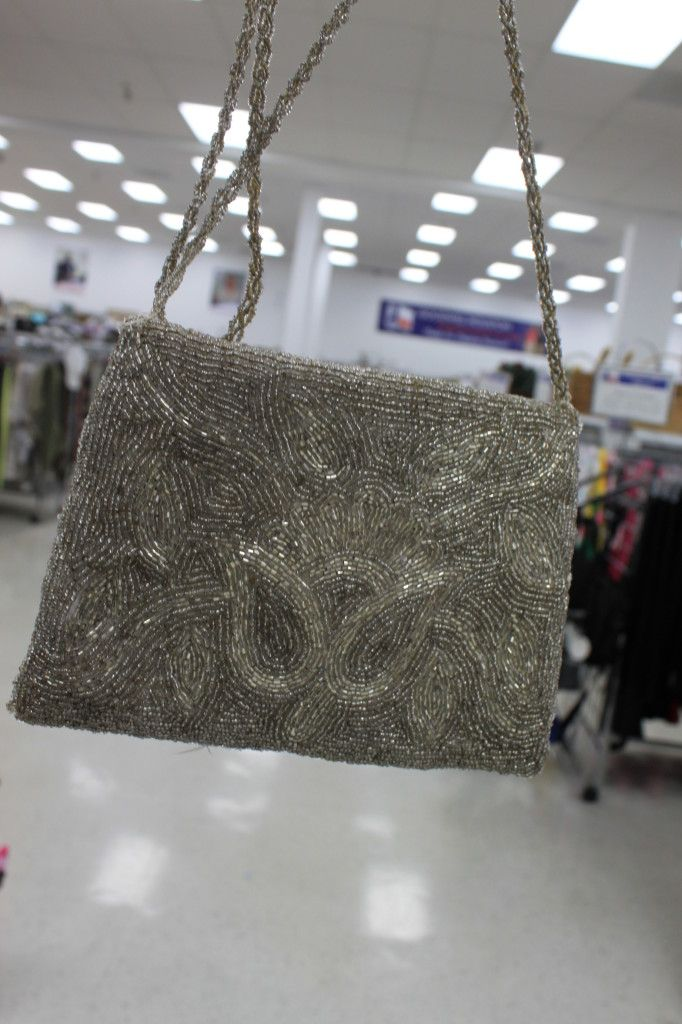 Vintage silver beaded purse