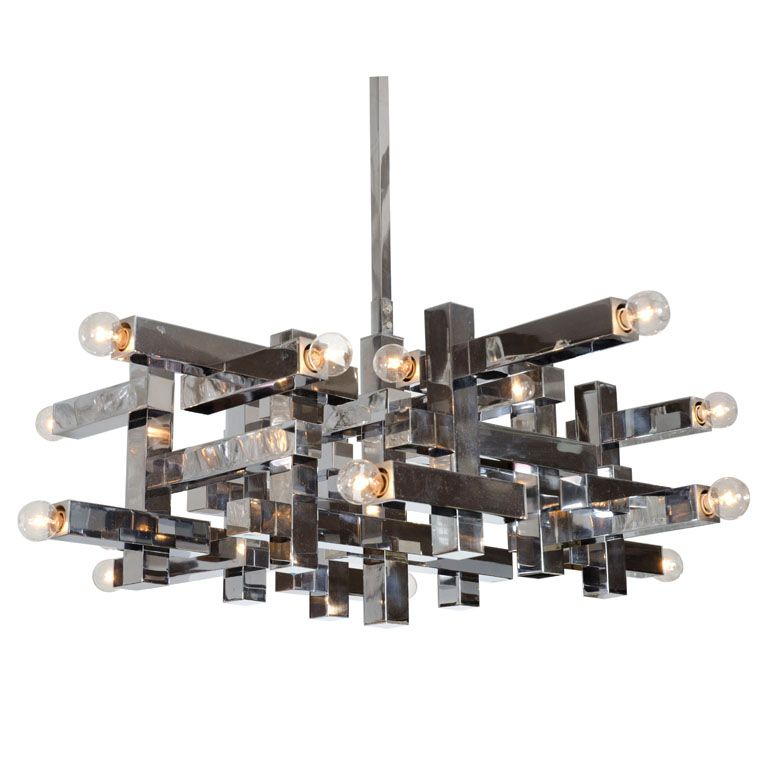 Polished Chrome Steel Square Tube Chandelier By Sciolari Tis One