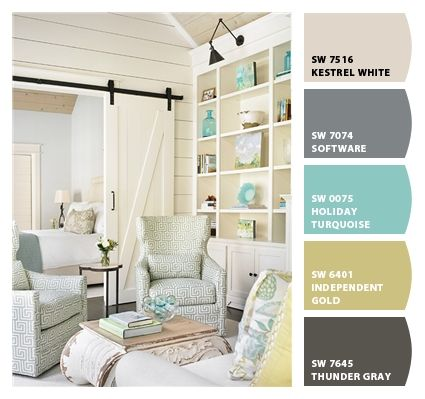 Cottage Living Room With Handy Living Andee Greek Key Chair, Apple Green,  High Ceiling, Barn Door, Hardwood Floors