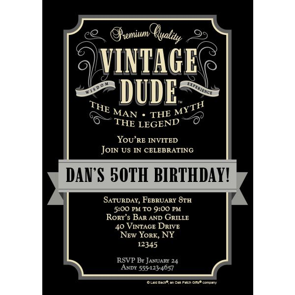 Add Custom Options To Vintage Dude Invitation Including Name Event Details And More We Are Your One Stop Shop For Of A Kind Party Fun