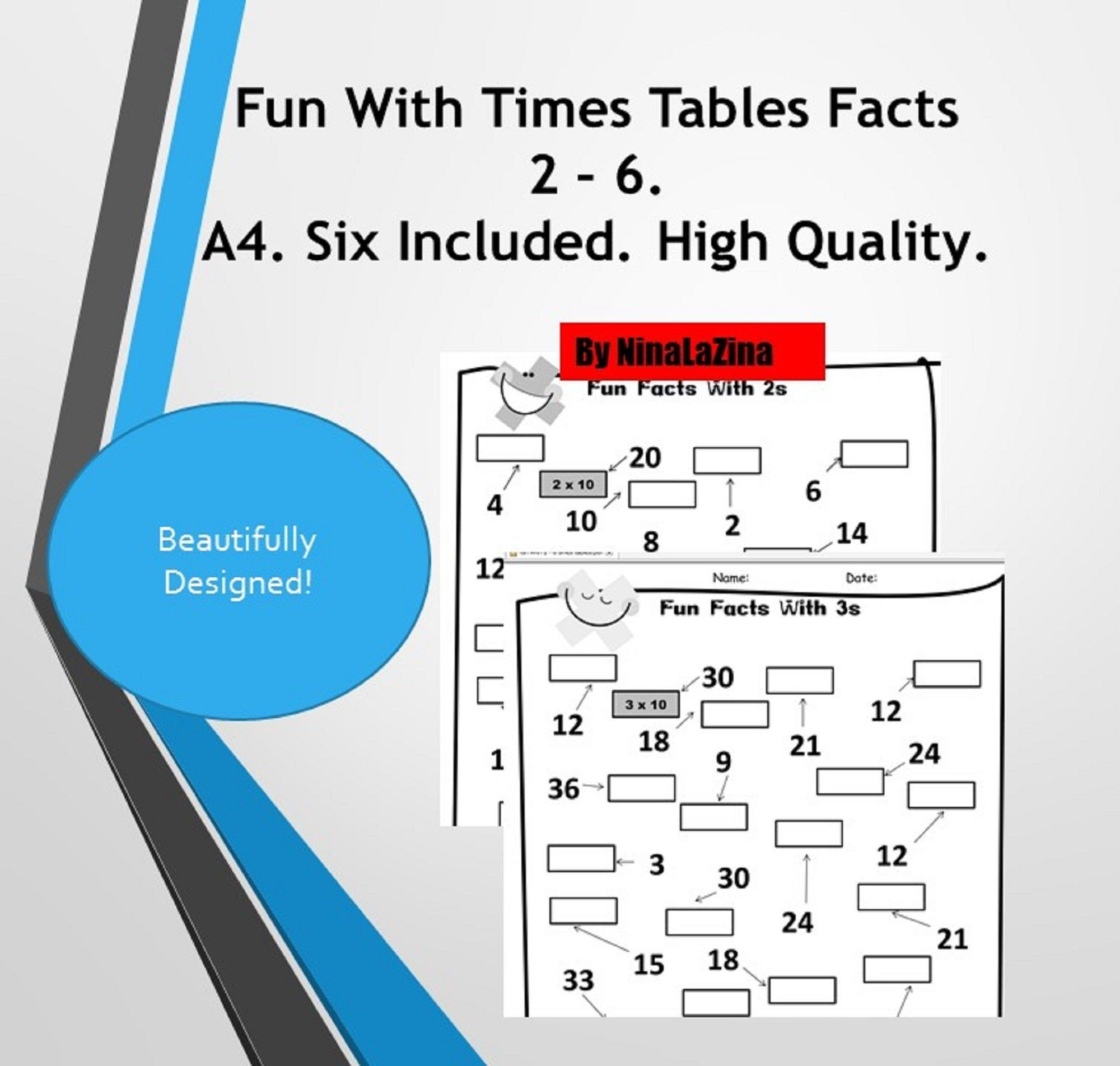 Times Tables Worksheets Fun Maths Pack 6 With Answers