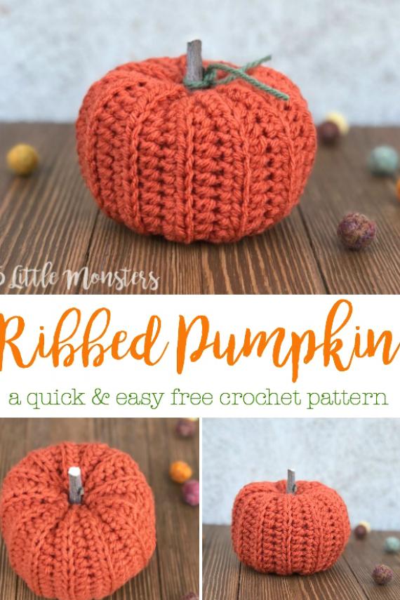 Easy Ribbed Crocheted Pumpkin