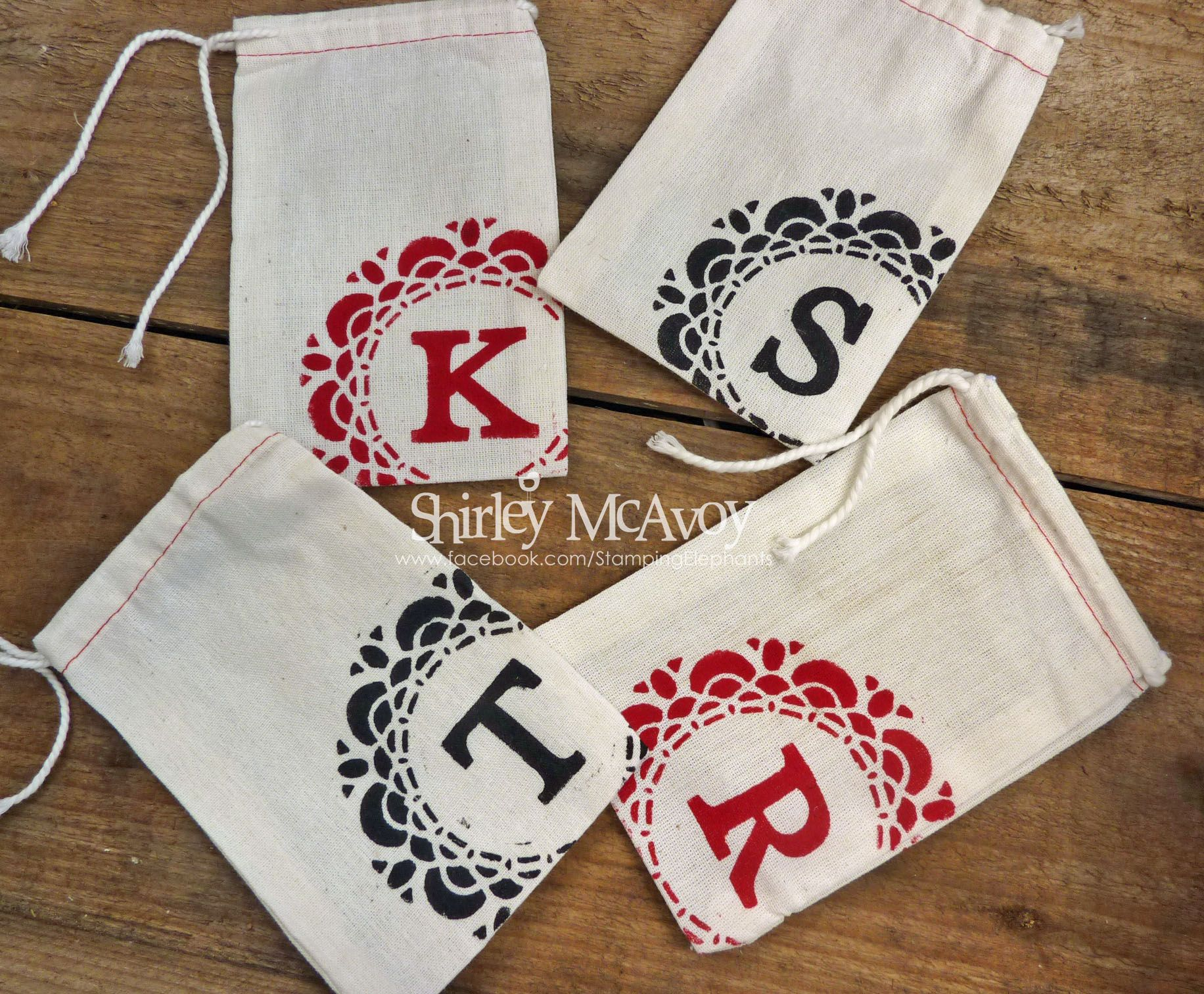 Doily Gift Bags by Shirley McAvoy, Stamping Elephants