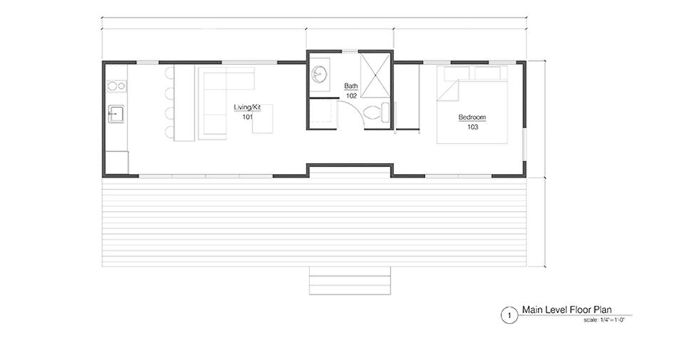 The Mod-Haus Recreational Park Trailer Floorplan. Favorite floor plan so far. Move couch a little closer to tv wall and table a little closer to window= table seating for 8. :-)