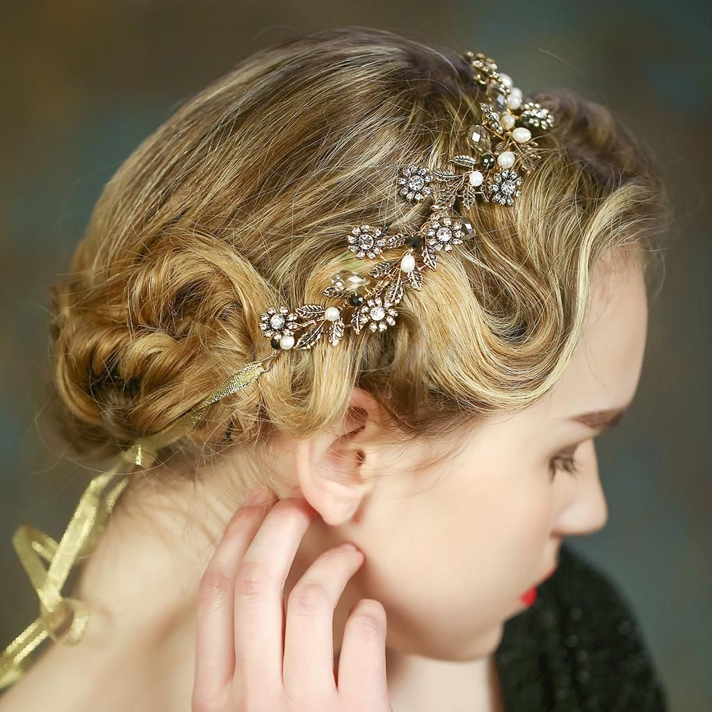 Vintage Lady Girls Crystal Pearls Flower Headband Headpieces Hair