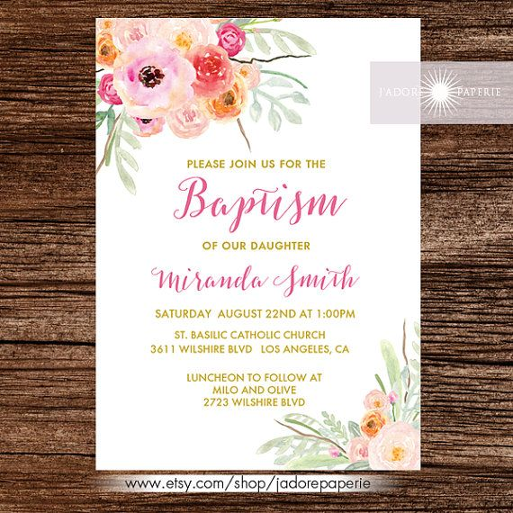 Baptism Invite Christening Invitation Printable by JadorePaperie