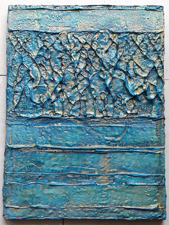 Acrylic painting canvas 40 x 30 turquoise gold structures abstract - modern turkis