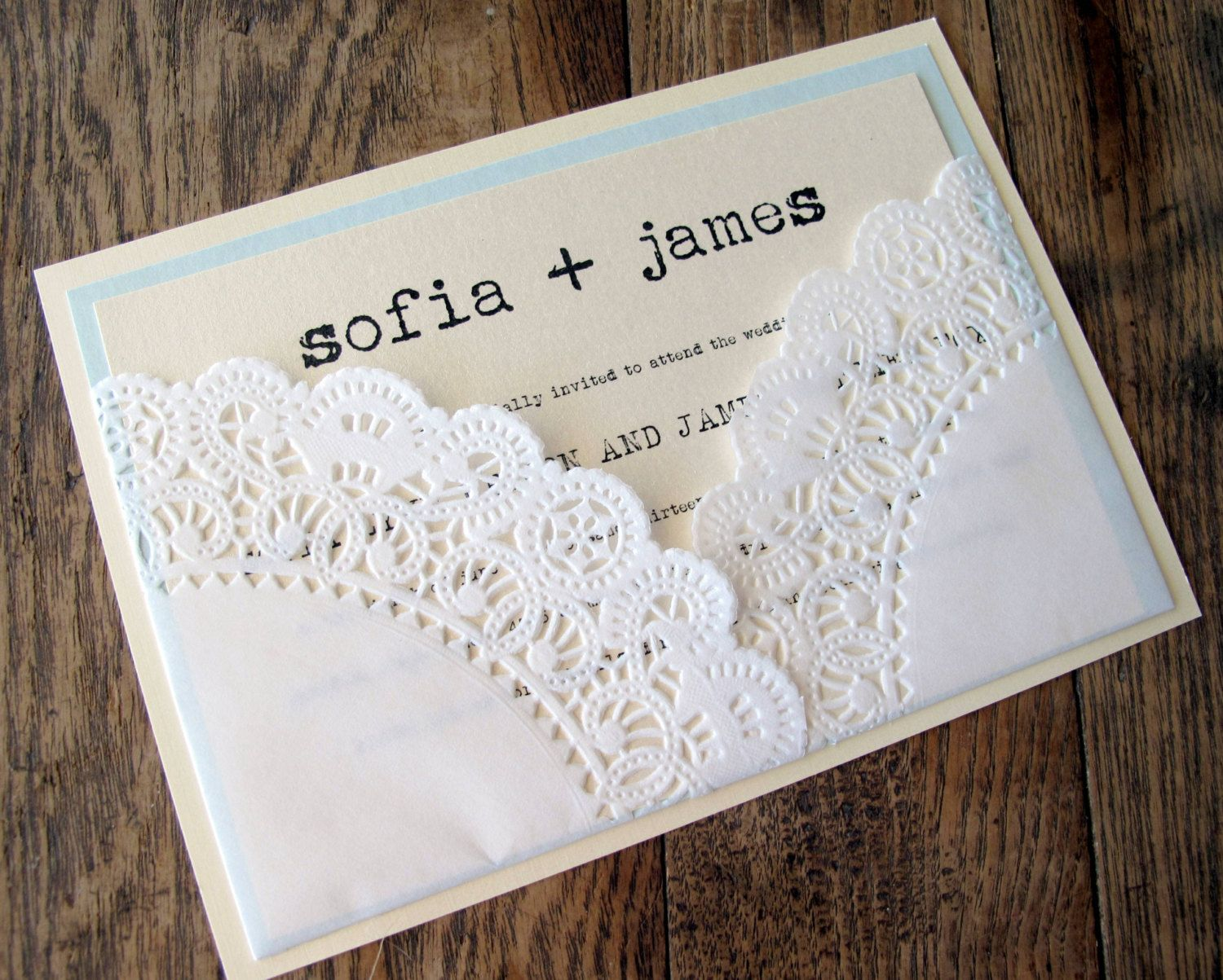 bridal shower invitations with recipe card attached%0A Wedding Invitation Vintage Lace Doily Pocket by BellaPapel on Etsy  Would  be cute idea for bridal shower