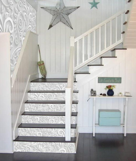 White Flowers Stairway Decoration Adhesive Vinyl S