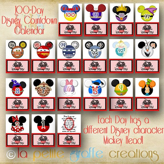 picture relating to 100 Day Countdown Printable known as 100-Working day Disney Identity Countdown Calendar - every single working day is made up of a