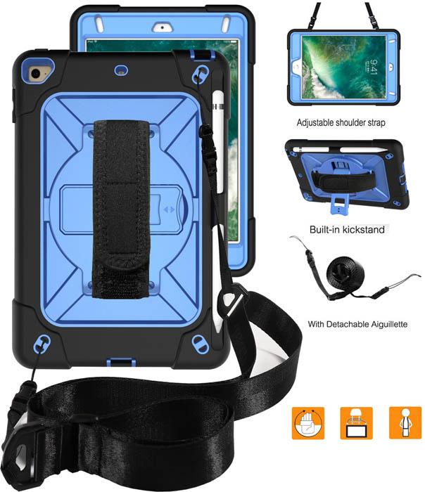 Ipad Mini 5 Kickstand Hand Strap And Detachable Shoulder Strap Cover Black Blue Ipad Mini