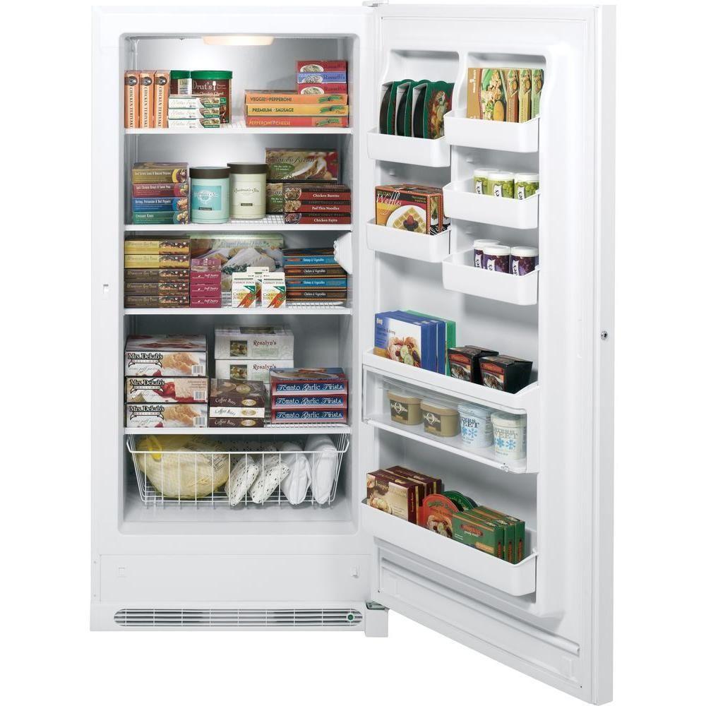 ge 20 9 cu ft manual defrost upright freezer in white fum21dhrww rh pinterest com GE Fridge Parts GE Fridge Manual Cool Controls