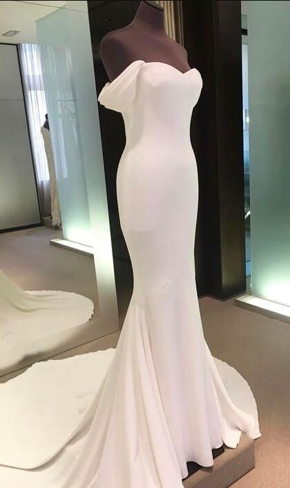 c32fb52d46a Off Shoulder Backless Prom Gown