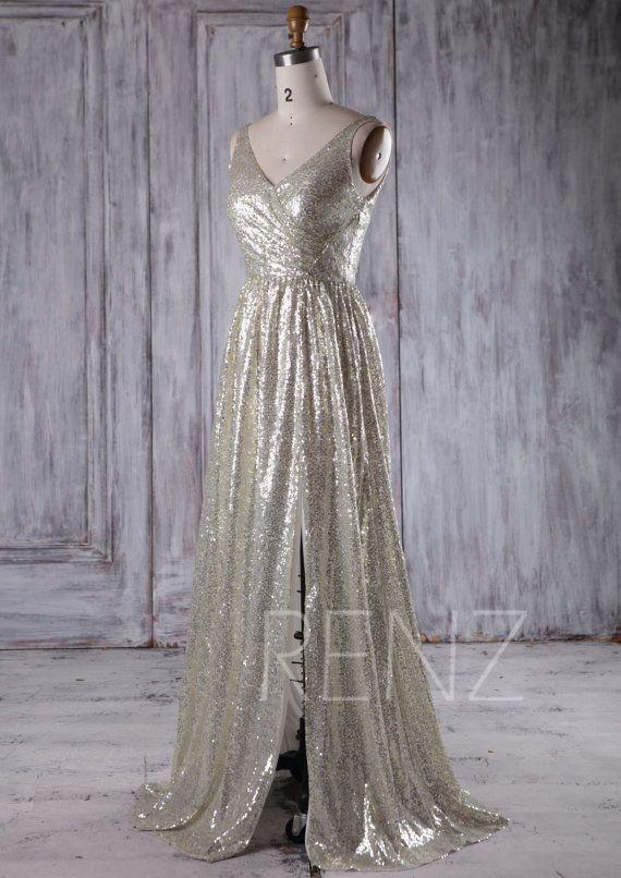 e8e7d755 Party Dress Gold Silver Sequin Bridesmaid Dress,Ruched V Neck Wedding Dress,Long  A-Line Evening Dress,Bling Open Back Slit Prom