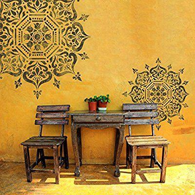 Boukhara Médaillon circulaire Pochoir - Indien meubles Sol murale