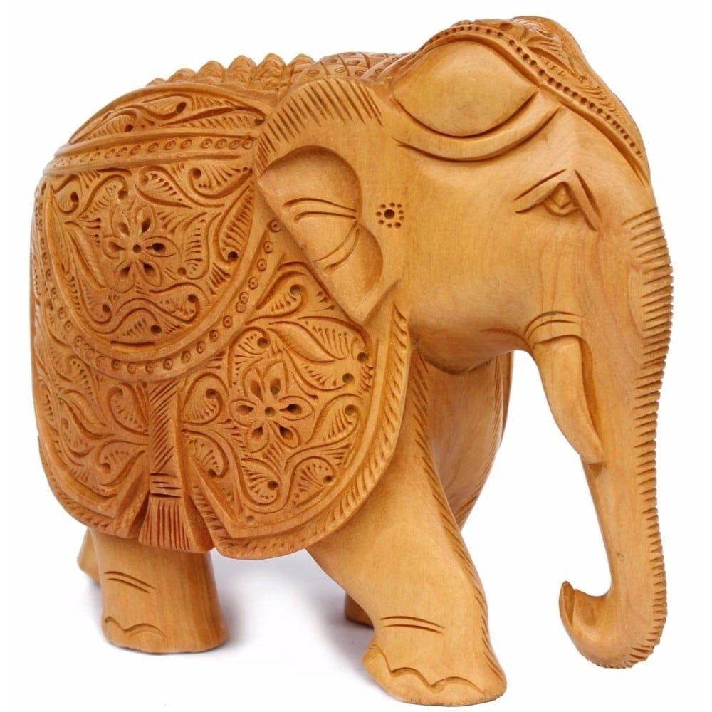 Benzara 8 Inch Elephant Decor Statue Brown Wood