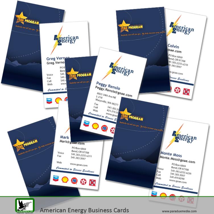 American Energy Business Cards Graphic Design Logo Design