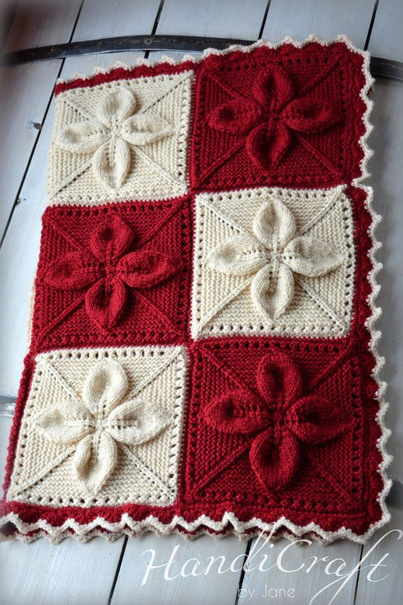 Knitted baby blanket. Red and beige handmade blanket for baby with ...