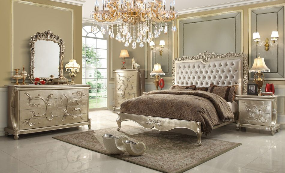 5 pc queen victoria renaissance style antique silver queen bedroom set with tufted padded carved Home furniture victoria street