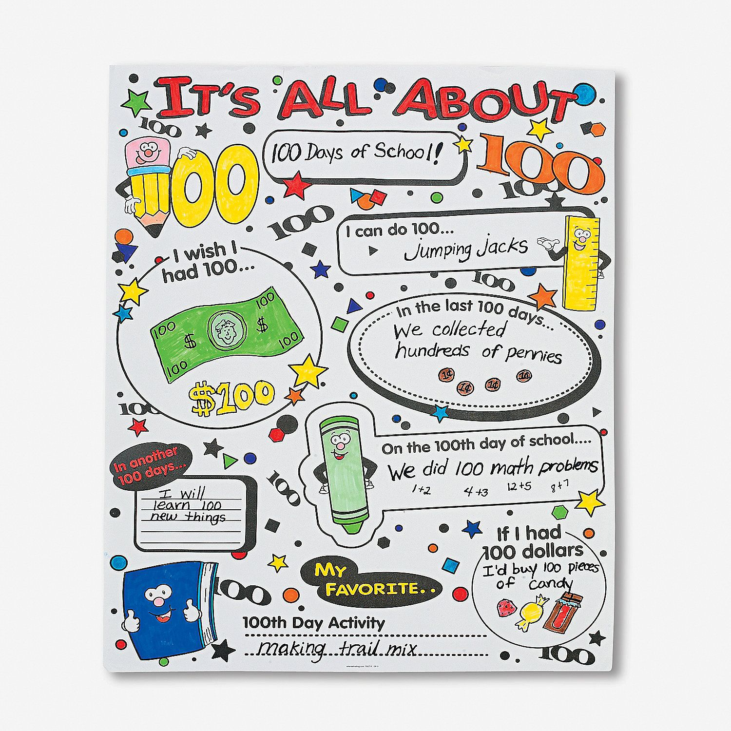 Color Your Own It S All About 100th Day Of School Poster