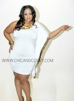 New Plus Size White & Gold Sequins One Shoulder Body Con 1X 2X 3X ...