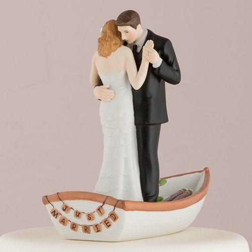 Row Away Wedding Couple In Rowboat Figurine Cake Beach