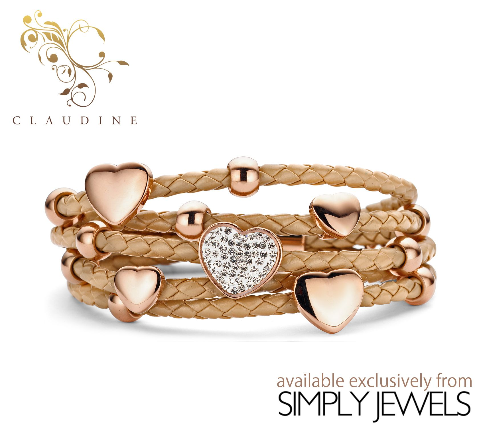 #Claudine Brown CZ Hearts & Rings #Leather Bracelet with #Rose Plated Stainless #Steel -xx- #brandnew #jewellery #collection #loveit http://simplyjewels.biz/view_product.php?id=2254