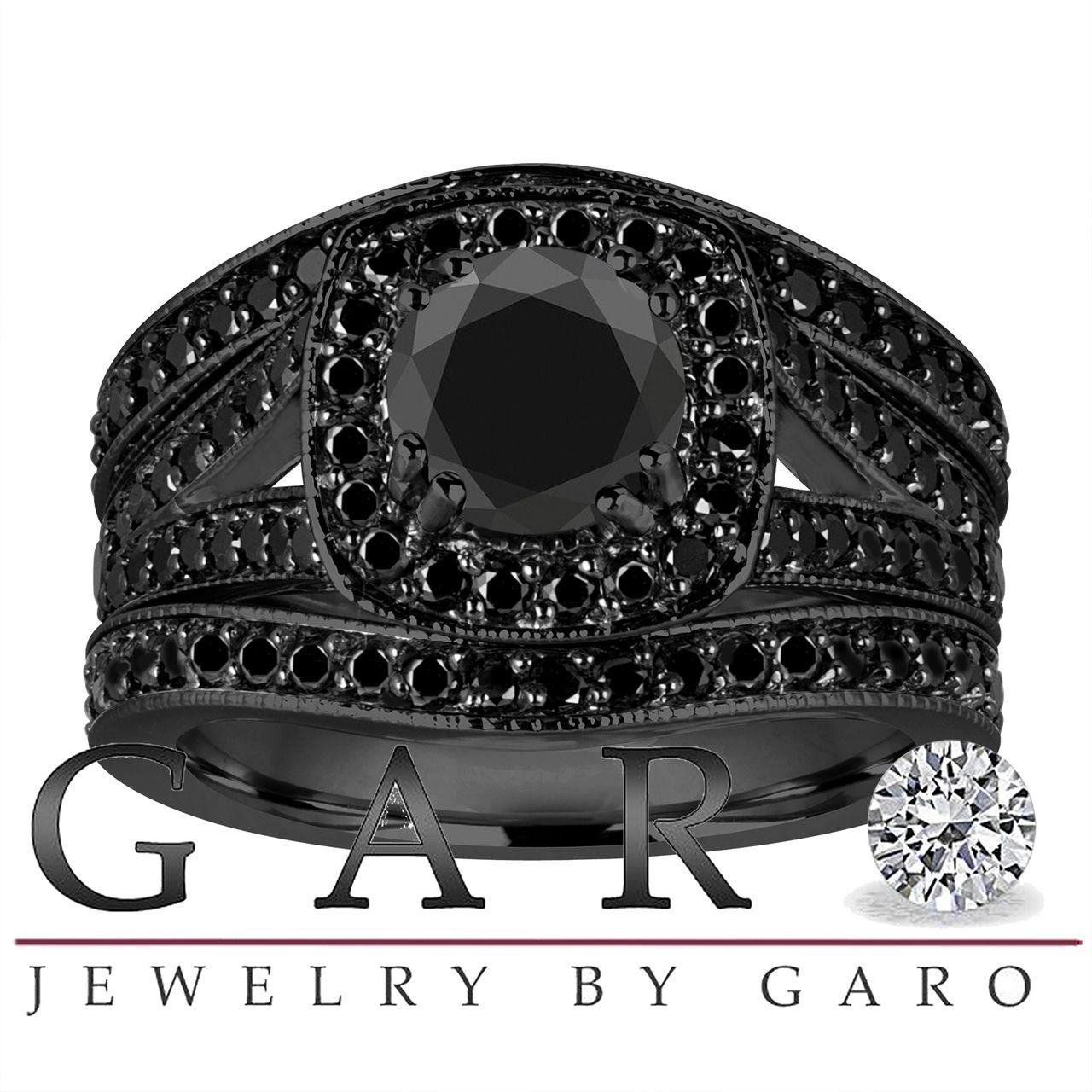 Trio Black Diamonds Engagement Ring Set, Wedding