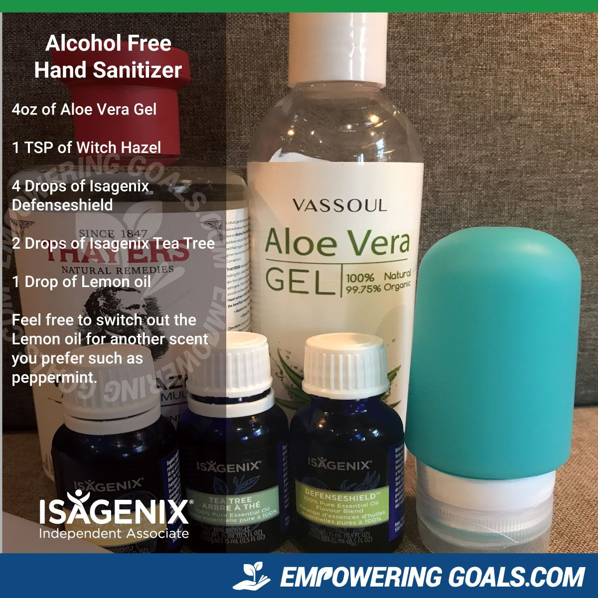 Alcohol Free Hand Sanitizer Made With Isagenix Essential Oils Pak