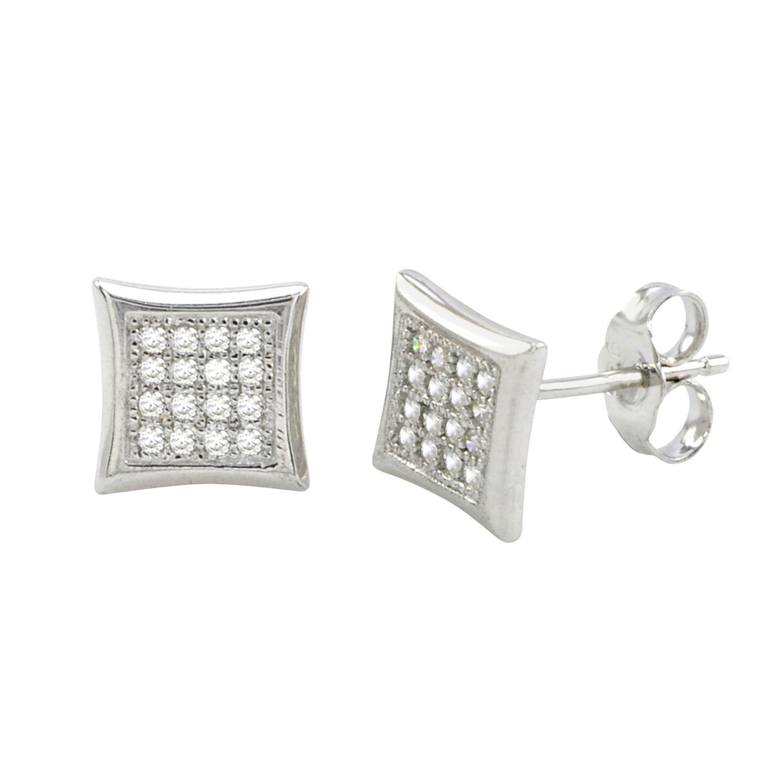 3be346bad Sterling Silver Micropave Stud Earrings Kite Shaped Clear CZ 8mm x 8mm