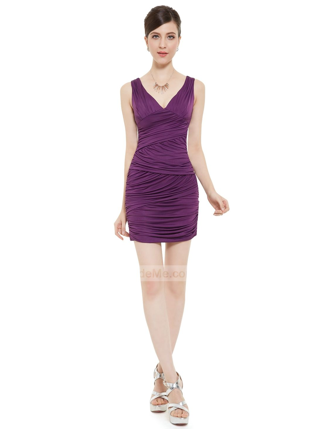 V neck fitted fashion purple ruched cheap short prom dress cheap