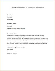Letter To Compliment An Employees Performance Download At Http