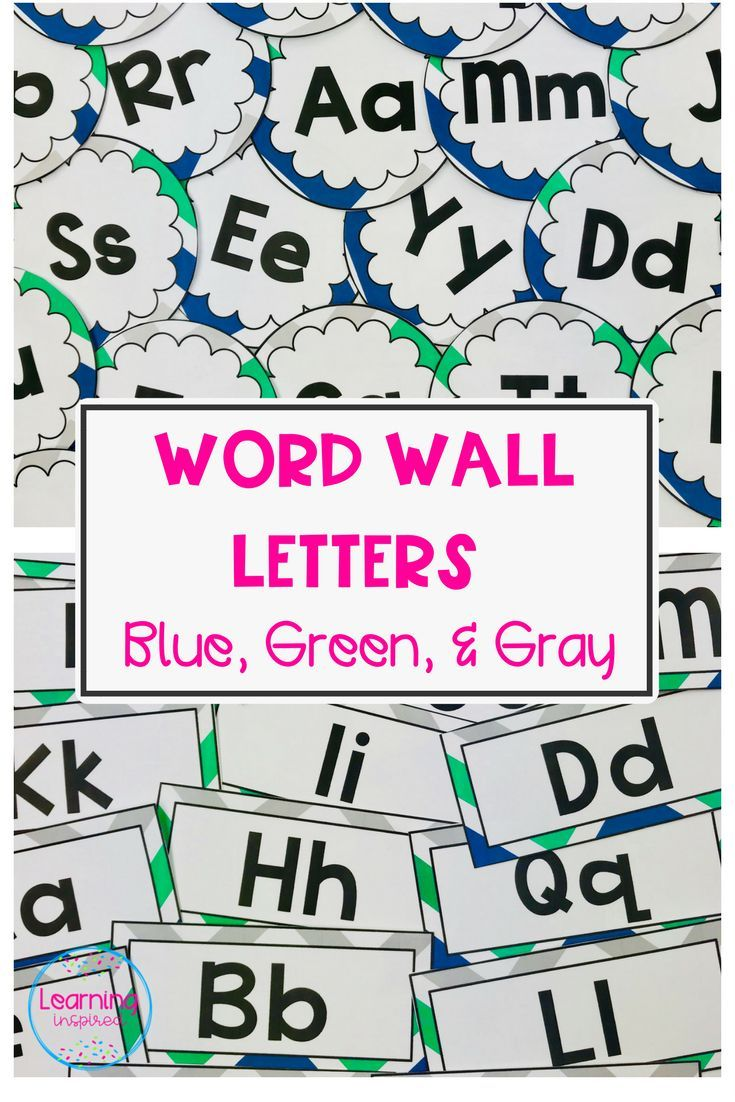 Word Wall Letters Beauteous Word Wall Letters Blue Green & Gray Chevron Edition  Word Wall 2018