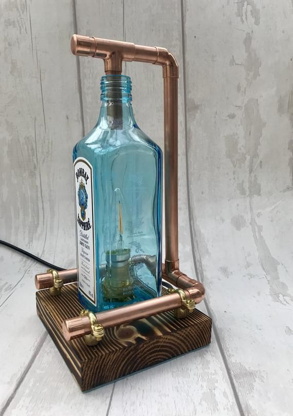 Hand Made Bombay Blue Sapphire Lamp Steampunk Copper Bottle Lamp Table Lamp Vintage Retro
