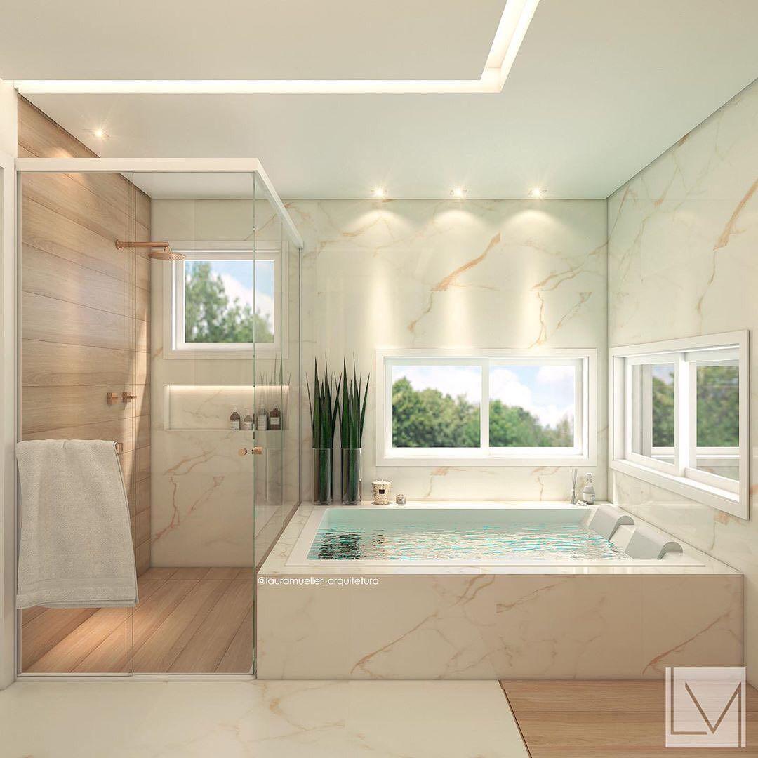 Para Comecar Bem O Domingao Nada Melhor Do Que Um Ambiente Super Relaxante Autoria Do Projet Banheiros Modernos Banheiros Luxuosos Banheiro Estilo Moderno