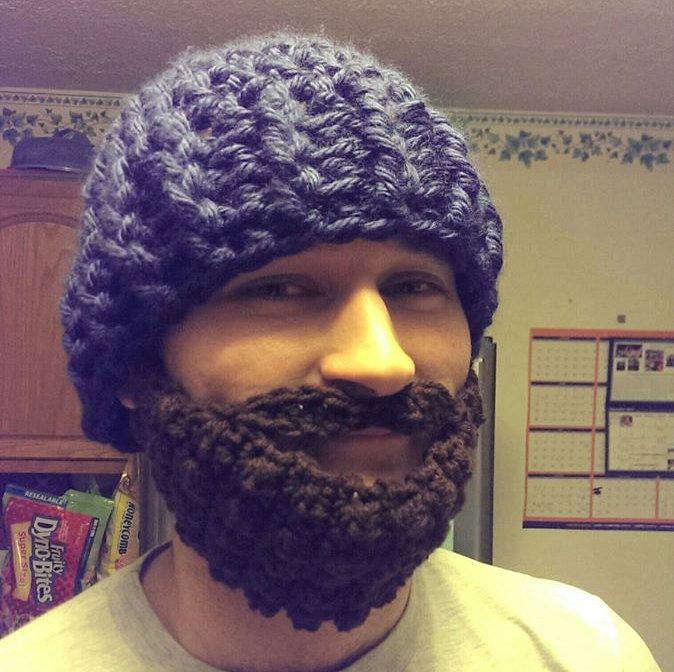 crochet hat and beard, crochet beard, crochet mens beard by NissCrochetingShop on Etsy #crochetedbeards