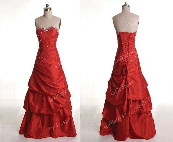 A line prom dresses, red prom dress, red ball gown, A line bridesmaid gown, evening dress, BM0213 on Etsy, $179.00
