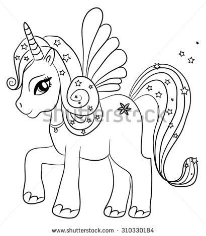 Cute Cartoon Fairytale Unicorn Coloring Page For Kids